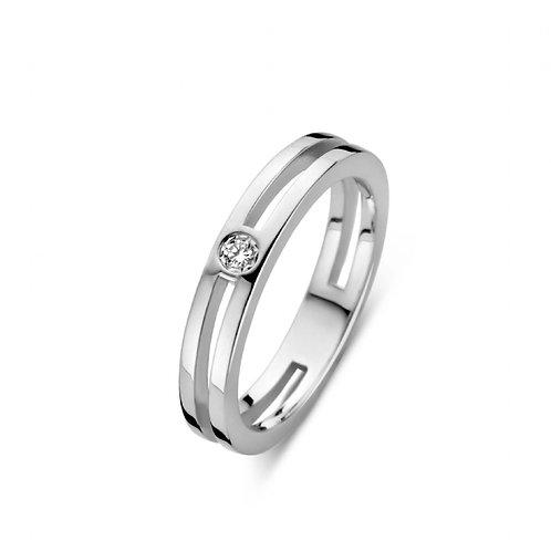619108 Rosa di Luca zilveren briljant ring 0,03ct
