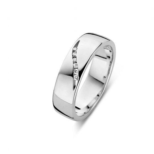 619107 Rosa di Luca zilveren briljant ring 0,06ct