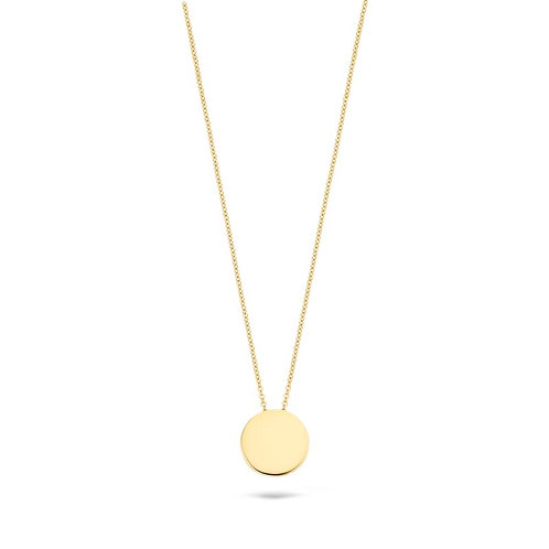 3080YGO Blush collier geelgouden rond plaatje