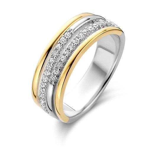 629622 Rosa di Luca zilveren verguld ring zirconia