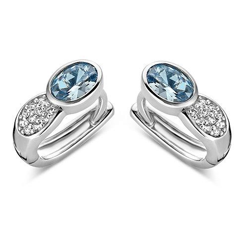 625538 Rosa di Luca zilveren creolen blauwe zirconia