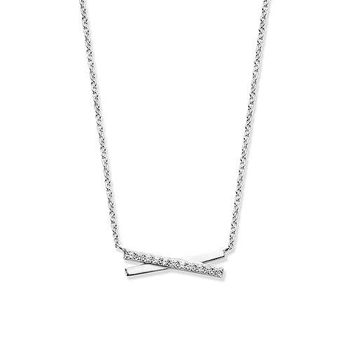 624545 Rosa di Luca zilveren hanger zirconia met collier