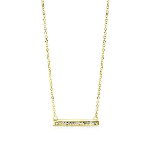 ZGC182 ZINZI GOLD 14 karaats geelgouden collier met staafje zirconia 42+3cm