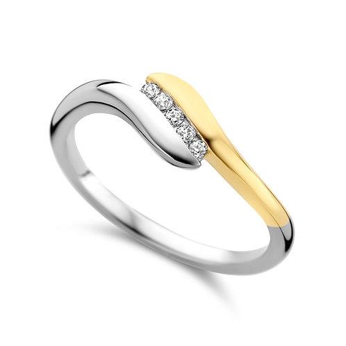 629620 Rosa di Luca zilveren verguld ring zirconia