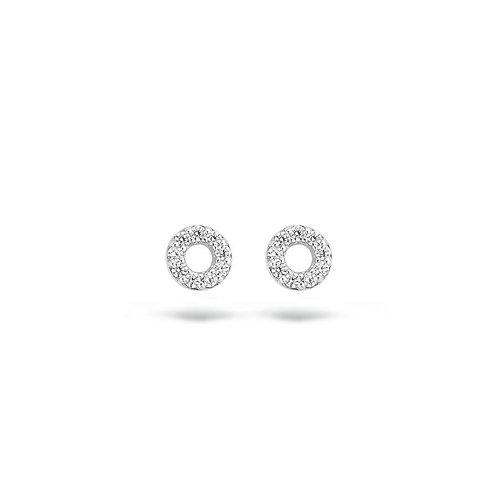 7193WZI Blush oorstekers witgoud zirconia open cirkel