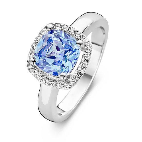 629279 Rosa di Luca zilveren ring zirconia vierkante rozet blauw