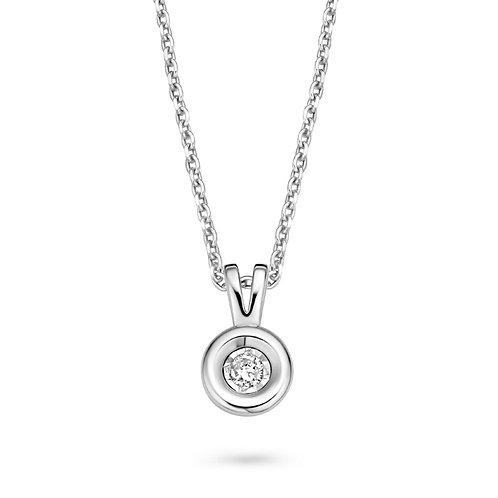 61410400 Rosa di Luca zilveren collier briljant 0,06ct