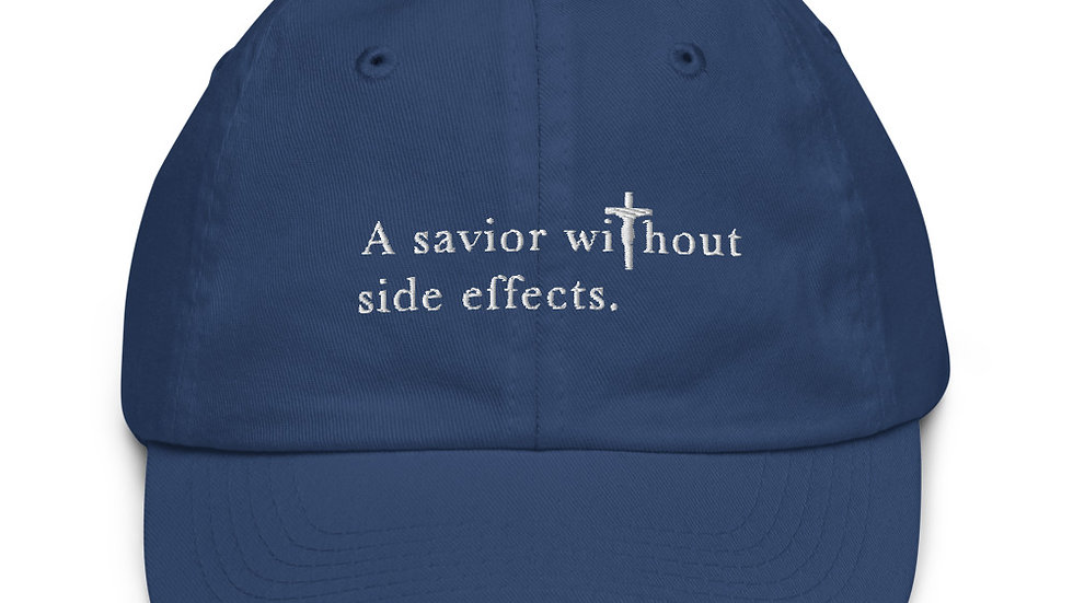A Savior Without Side Effects - Youth baseball cap - Dark Cap/Light Text