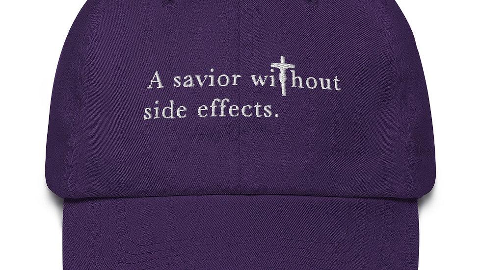 A Savior Without Side Effects - Cotton Cap - Dark Cap/Light Text