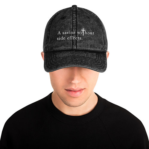 A Savior Without Side Effects - Vintage Cotton Twill Cap - Dark Cap - Light Text