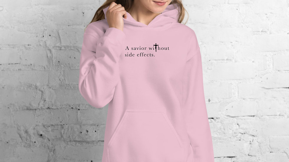 A Savior Without Side Effects - Unisex Hoodie - Light Hoodie/Dark Text