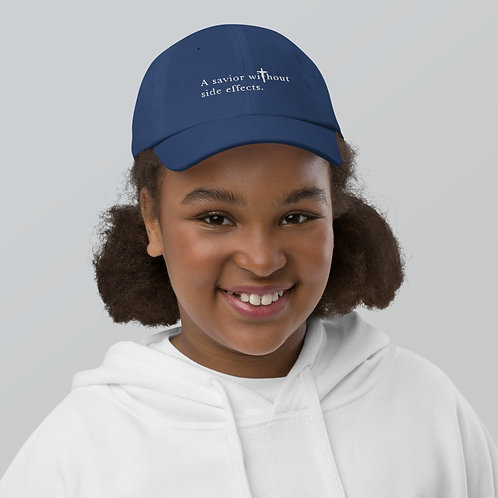 A Savior Without Side Effects - Youth baseball cap - Dark Cap - Light Text
