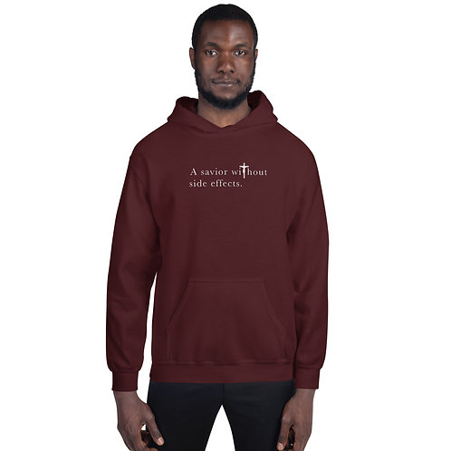 A Savior Without Side Effects - Unisex Hoodie - Dark Hoodie - Light Text
