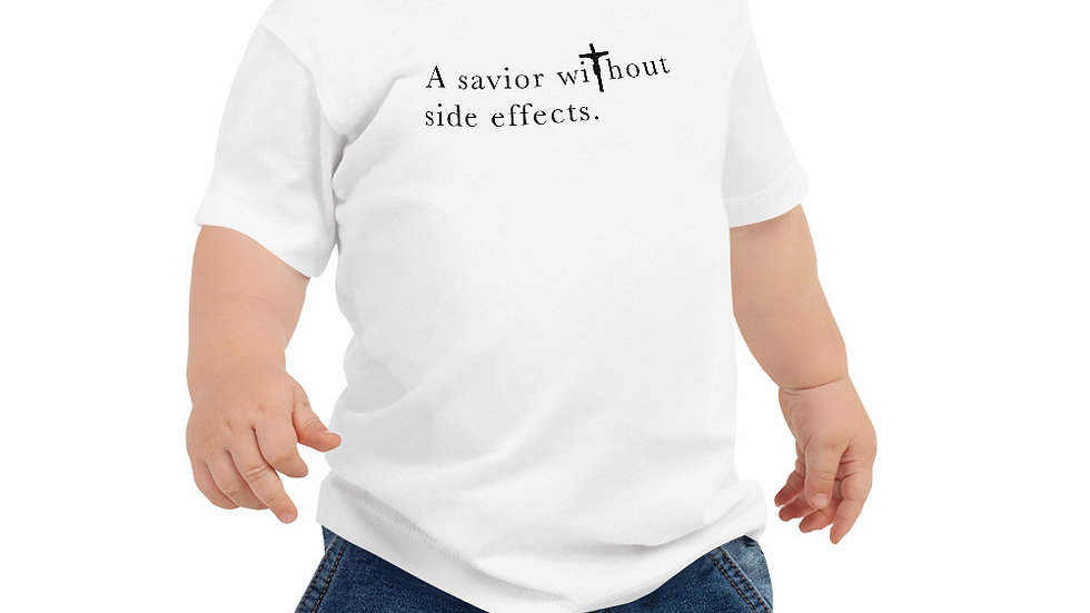 A Savior Without Side Effects - Baby Jersey Short Sleeve Tee - Lght Shrt/Drk Txt