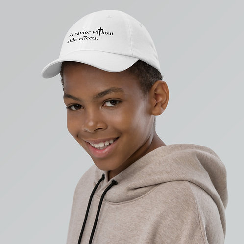 A Savior Without Side Effects - Youth baseball cap - Light Cap - Dark Text