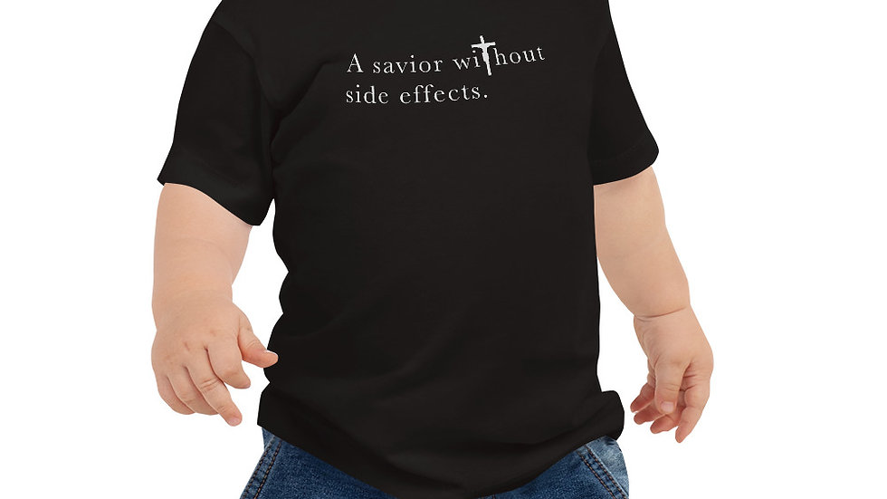A Savior Without Side Effects - Baby Jersey Short Sleeve T - Lght Shrt/Drk Text
