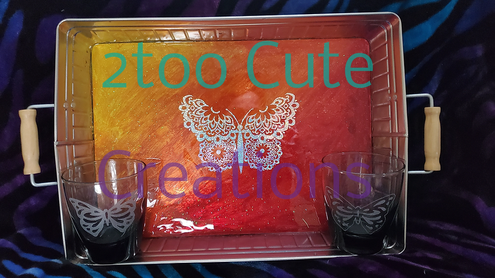 Hand painted/ etched serving tray & glass set