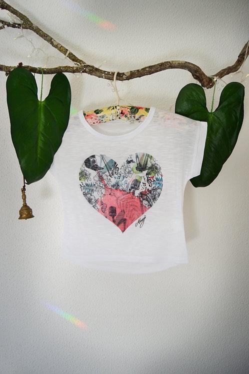 Camiseta peq. Corazón fucsia