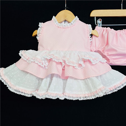 Pink Dress and Pants Cotton Frilled Set