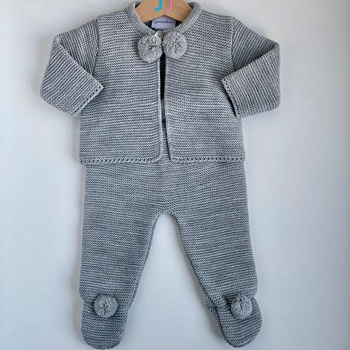 Unisex Grey Knitted Two Piece Pom Pom Set