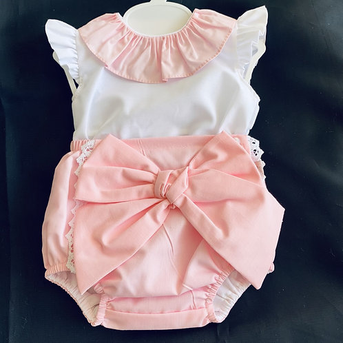 Pink with( Large) Bow Romper Set