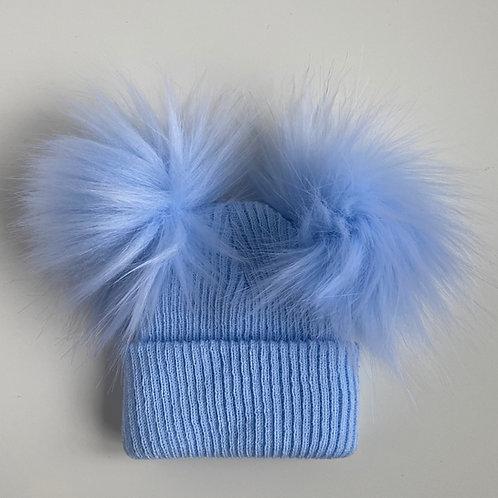 2 Pom-Pom Blue Fluffy Newborn Hat