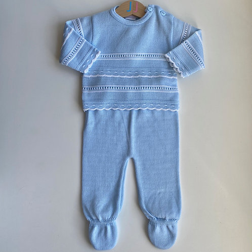 Boys' Blue Knitted Top And Leggings Set