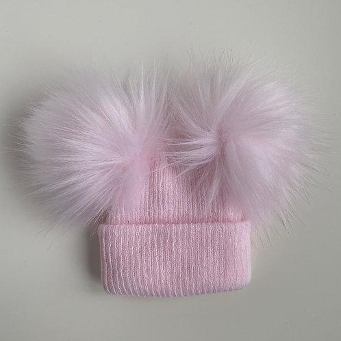 2 Pom-Pom Pink Fluffy Newborn Hat