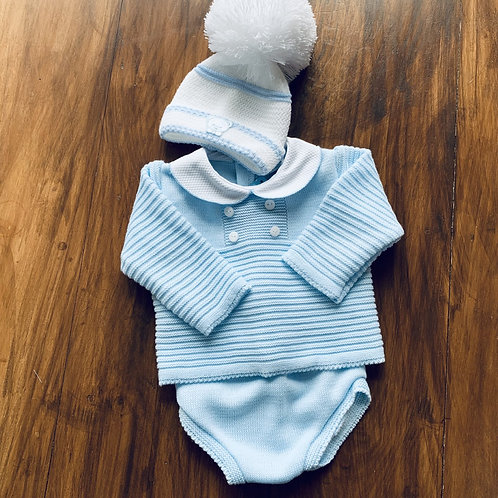 Boxed 2 piece Boys Spanish Fine Knitted Set + Hat