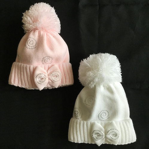 Pom Pom Hat with Bow and diamonte Spirals
