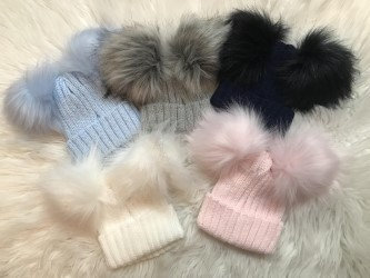 Large Double Pom-Pom Hats,