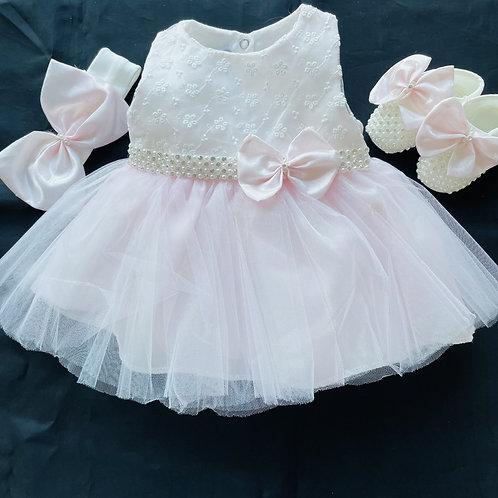 Beautiful Dress + Beaded Shoes + Hairband Set
