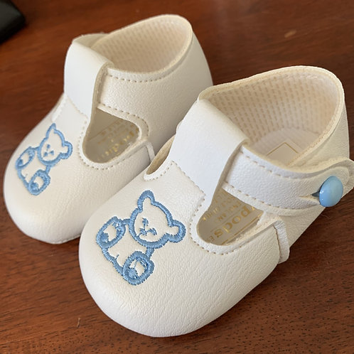 Soft Sole Shoes,  White/Blue Teddy