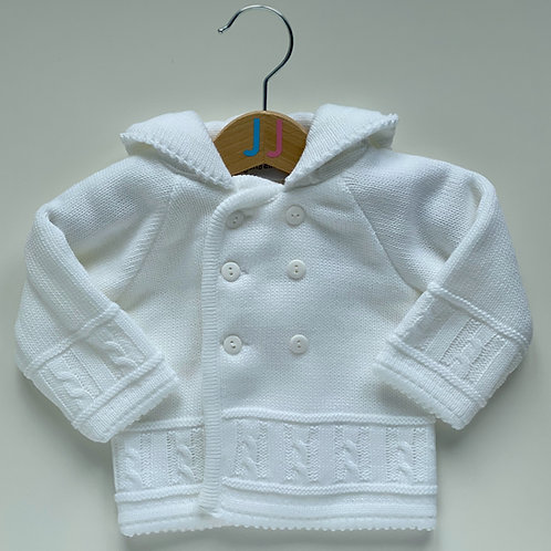 Unisex Knitted White Hooded Jacket