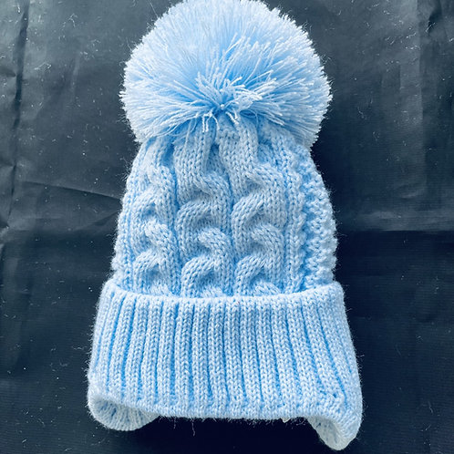""""""" Little Gem""""  Cabled Pom-Pom  Baby Hat (Lined)"""
