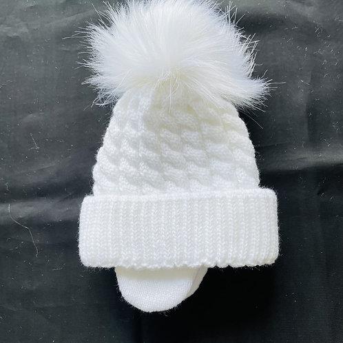 """Prince"" 1 Pom-Pom  Fluffy Baby Hat (Lined)"