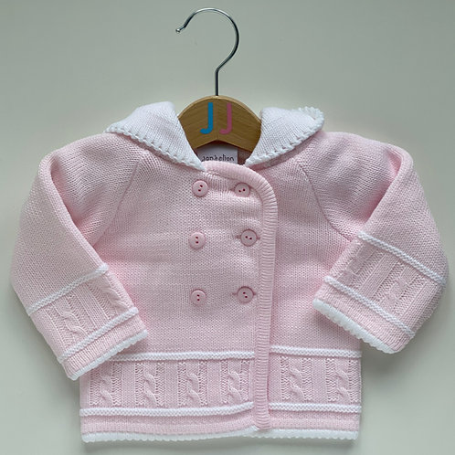 Girls' Knitted Pink Hooded Jacket
