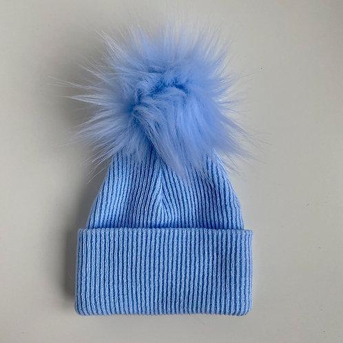 1 Pom-Pom Blue Fluffy Newborn Hat