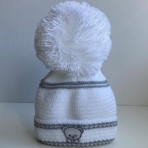 Newborn Teddy Hat In White With Grey