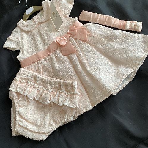 Mintini Ecru/Peach Embossed Dress +Panties + Hairband Set