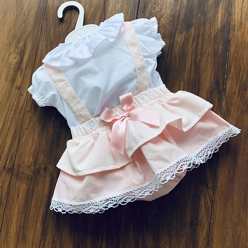 Frilly collar Blouse + Skirt pants Set