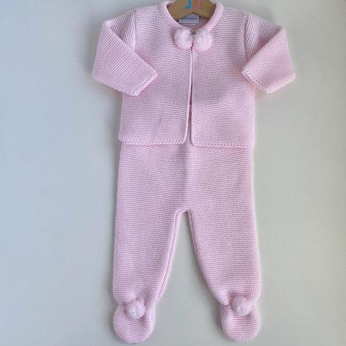 Girls' Pink Knitted Two Piece Pom Pom Set