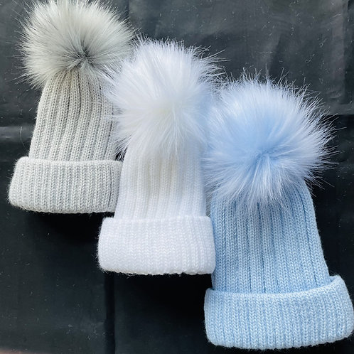 """Cascade"" Fluffy Pom-Pom  Baby Hat (Lined)"