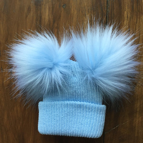 2Pom Pom Fluffy Ribbed Hat