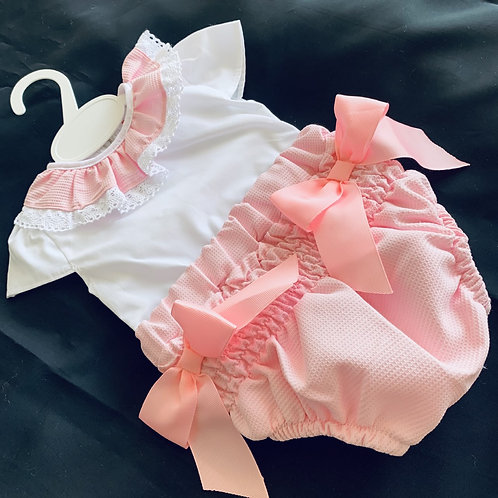 Pink 2 Bow Ruched Romper Set