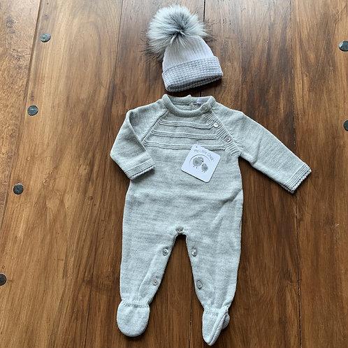 Boys Knitted Onesie + Hat Set