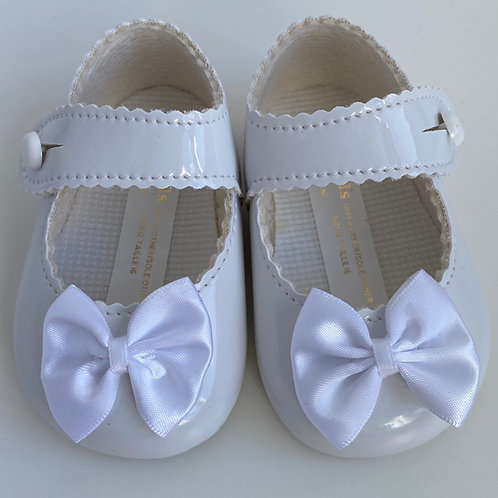 Baby's First Shoes-Girls White Bow Shoes