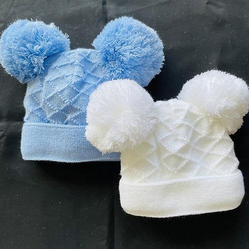 """Hopscotch""  2 Pom-Pom  Baby Hat"