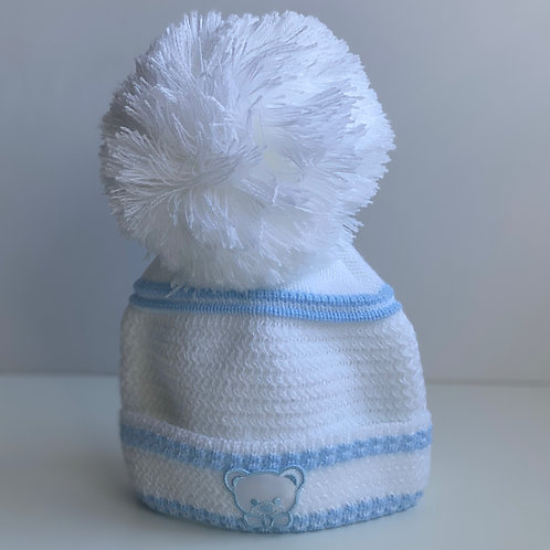 Newborn Teddy Hat In White With Blue Detailing
