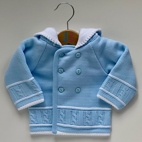 Boys' Blue Knitted Hooded Jacket